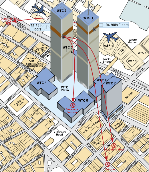 План движения и падения самолетов 11 Сентября 2001 в Нью-Йорке Манхетен
